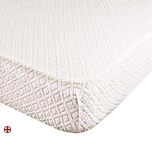 takestop SurMatelas Jacquard Housse Tissu éponge Drap-Housse élastique 90×200 100% Coton
