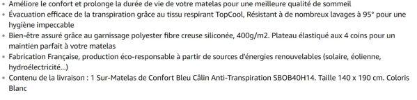 Bleu Câlin Sur-Matelas de Confort Anti-Transpiration TopCool Blanc 140x190 cm SBOB40