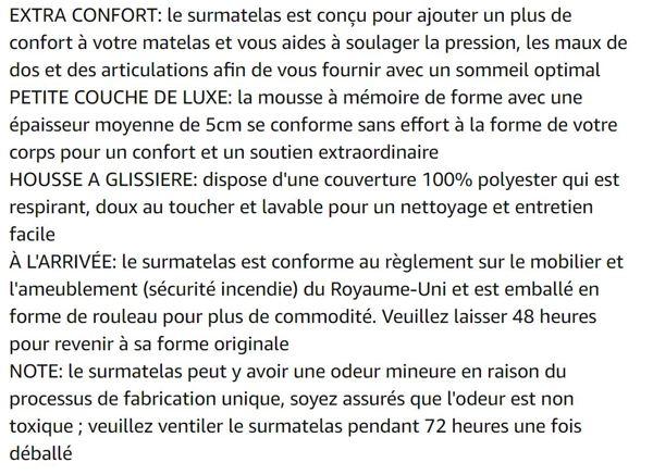 LANGRIA Surmatelas 5cm en Mousse à Mémoire de Forme Respirant avec Housse Amovible, Lit Simple (120 x 190 x 5cm)