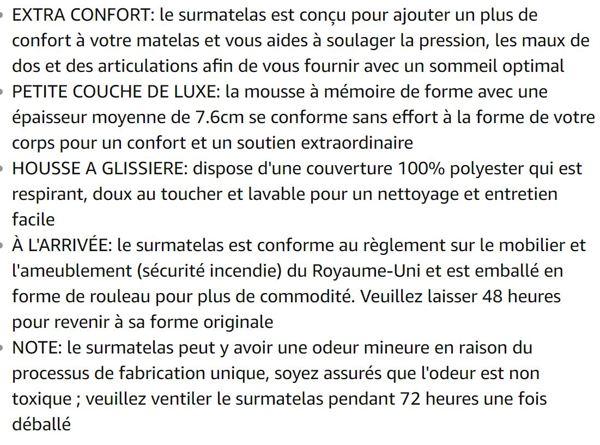 LANGRIA Surmatelas 7.6cm en Mousse à Mémoire de Forme Respirant avec Housse Amovible 190 x 120 x 7.6 cm