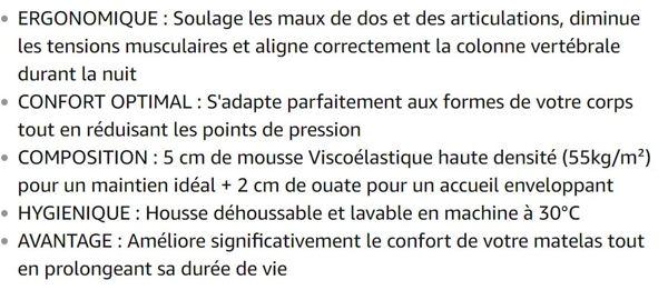 My Lovely Bed - SurMatelas Mémoire de Forme 160x200 cm - Epaisseur 7cm - Déhoussable - Mousse Viscoélastique Haute densité