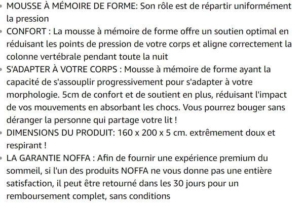 NOFFA ( 160 x 200 x 5cm Surmatelas à Mémoire de Forme - Soutien Optimal, extrêmement Doux et Respirant