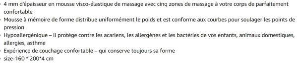 NOFFA Surmatelas de Massage, Surmatelas Mousse à mémoire de Forme, Confort Soulagement de la Douleur Surmatelas (160 x 200 x 4 cm)