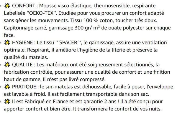 RESTBULLE Surmatelas à mémoire de Forme 160 x 200 cm - Confort Morphologique -  Qualité Hôtellerie - Fabriqué en France - Epaisseur Totale de 8cm