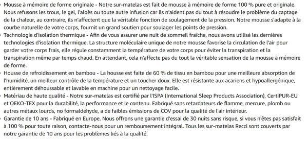 Recci sur Matelas a Memoire de Forme de 6cm, Surmatelas 140x190, Matelas Mousse Housse en Bambou hypoallergénique - Amovible et Lavable en Machine, CertiPUR-EU (140 x 190 x 6cm)