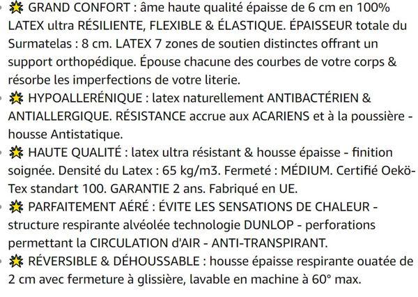 SURMATELAS Grand Confort 80x200 cm en 100% LATEX  - 8 cm D'ÉPAISSEUR / structure respirante ANTI-TRANSPIRATION 7 zones Technologie DUNLOP - HOUSSE épaisse HYPOALLERGÉNIQUE