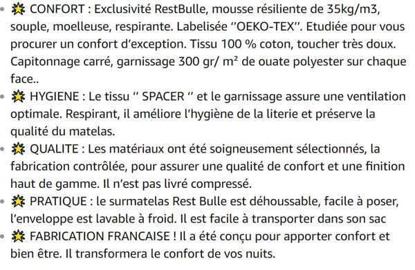 Surmatelas moelleux 160 x 200 cm - Qualité hôtellerie - Production française   - Epaisseur totale de 8 cm